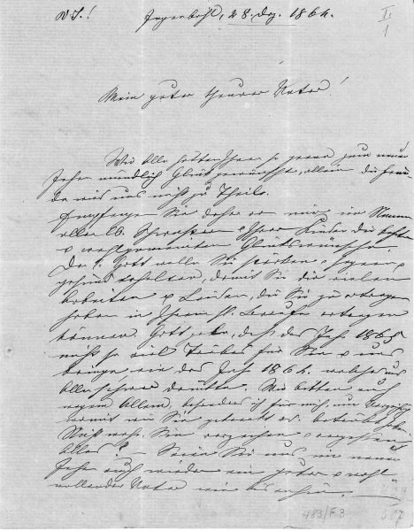 Brief von Maria Theresia Scherer an Theodosius Florentin 28.12.1864