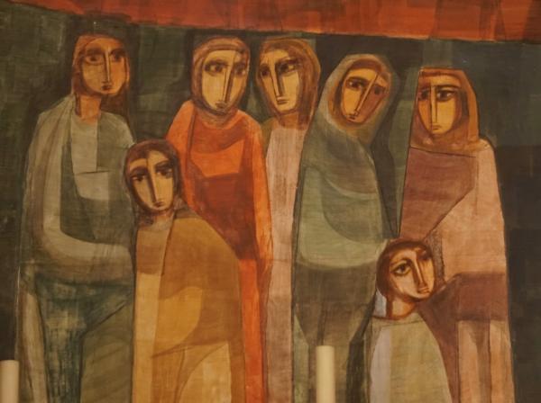 Frauen und Kinder am Weg Jesu. Fresko von Fra Roberto in der Kirche von Comano © Karl Flury, 2018.